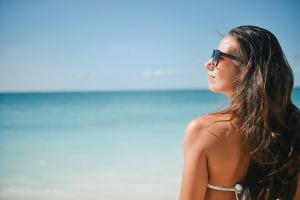 A girl in a bikini